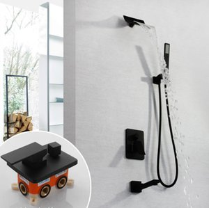 Concealed Hot Cold Bath Shower Set Wall Mount Black Shower with Waterfall Head Shower Faucet,Handheld Spray,Faucet