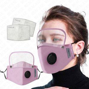 2020 Máscaras de algodão respiro válvula Homens Mulheres rosto cheio com filtros contra pó respirabilidade Rosto destacável Máscara Tampa 4color VENDA D71507