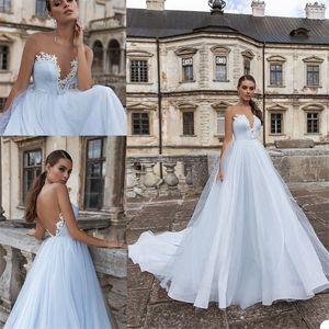 2020 Light Sky Blue Bling-линия Свадебных платьев Иллюзии сшитого Backless аппликация Блестка свадебное платье поезд стреловидность BOHO Bridal платье