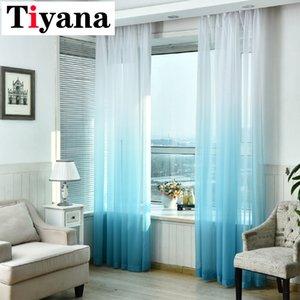 Tiyana Tende Gradient Stampa puro voile Tulle Per salotto moderno tende blu Tessuti Finestra tende Rideaux Cortina D45