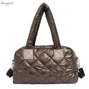 2020 New Shoulder Bag Cotton Space Feather Bag Bale Winter Bag Women Casual Down Grillwork Handbag Warm Shoulder Bags