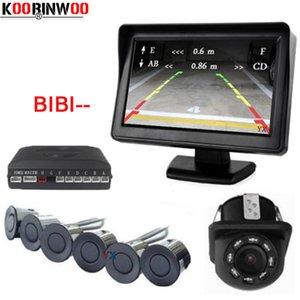 """Koorinwoo Parcheggio auto Visibile Assit 4.3"""" TFT monitor dello specchio di vista posteriore con telecamera e video radar di inverso del sensore di parcheggio anteriore 6"""