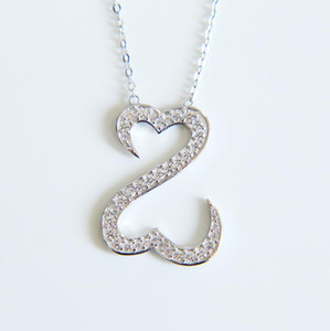 925 Sterling Silver Necklace Jewelry Jane Seymour cz necklace Open Love Heart Pendants Necklaces For Women Gifts