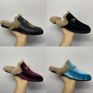 ABD 5-12 Kürk Mules Flats Gerçek Deri Tasarımcı Moda Metal Zincir Bayan Casual Ayakkabı ile Erkekler Kadınlar Mules Princetown Deri Terlik