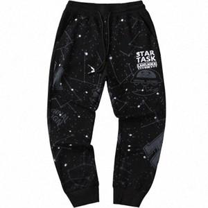 Les hommes occasionnels Starry Sky Pants desserrées des sports d'été Pantalons longues saisons Mode Pancil Pantalons Homme Imprimer Vêtements BkRk #