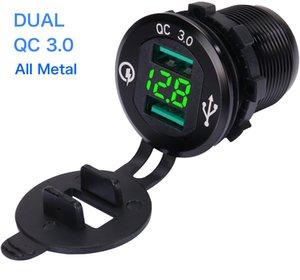 USB Car soquete 12V 24V Quick Charge 3.0 Porto impermeável metal carregador de carro Dual USB para a motocicleta, caravana, barco, caminhão, Motor