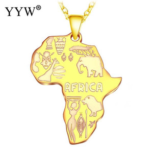 YYW 4 Color Africa Map Pendant Necklace For Women Men Ethiopian Jewelry Wholesale African Maps Hiphop Necklace Supplies