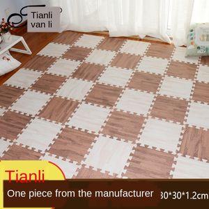 Baby jigsaw puzzle children climbing stitching home bedroom jigsaw puzzle floor mat wood grain foam floor mat thickening
