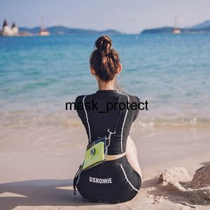 Korean lady split two-piece set Sports flat angle high waist long sleeve sunscreen diving suit hot spring swimsuit
