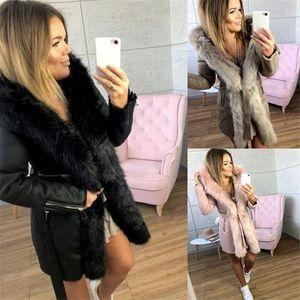 Зима Женщины дизайнер моды пальто Обезжиренное среднедлинная меха шеи Теплые пальто с поясами Повседневный женщин Одежда