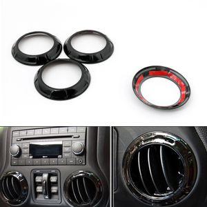 Areyourshop Car 4pcs Black Air Condition Vent Outlet Ring Cover Trim Fit For Wrangler 2007-2016 Car Auto Accessories Parts