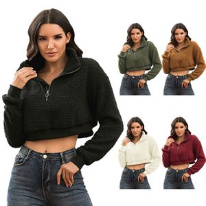 Frauen Langarm Half Zip High Neck Crop Top Fluffy Faux Fleece Warm Sweatshirt F3MD