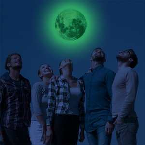 30cm Luminous Moon 3D Wall Sticker for kids room bedroom decoration home decals Glow in the dark Wall Stickers