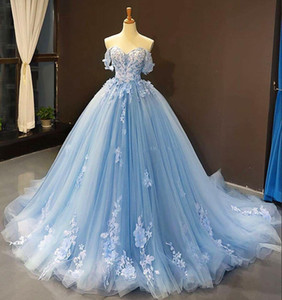 Light Sky Blue Beaded Quinceanera Dresses Off The Shoulder Lace Appliqued Prom Dress Tulle Lace Up Back princess Evening Gowns