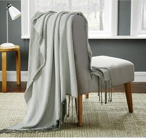 Striped fringed tapestry Cotton knitted tassel blanket home with gifts photography props knee blanket Nordic style