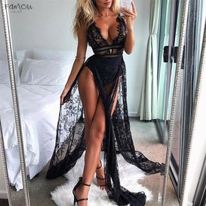 Dress Sexy Lace Perspective Sleeveless Solid Sling Dress Evening Party Club Long Dress Jul19