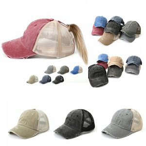 Washed Vintage Dyed Baseball Cap ponytail Unisex Classic Plain outdoor mesh hats travel fashion Snapback party favor FFA4078-2