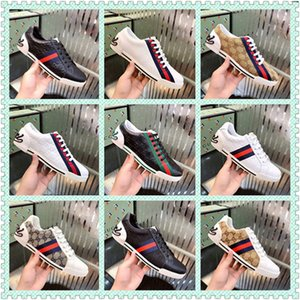 Top Quality Stripe New Designer Shoes White Bees ACE Embroidered Mens & Women Genuine Leather Designer Sneaker red bottom Casual Shoes