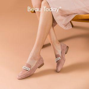 BeauToday İnci loafer'lar Kadınlar Kid Süet Deri Dize Boncuk Yuvarlak Burun İlkbahar Sonbahar Ayakkabı Bayanlar Flats El yapımı 27221 Slip On