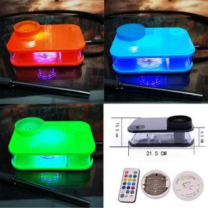 Kontrol edilebilir LED Işıklar 5 Renk Parti Bar Sigara Boru ile Shisha Cihaz Masaüstü Nargile Çay Seti Stil Dab Rig