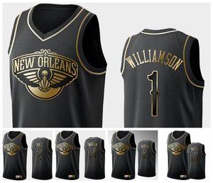 New OrleansPelikaneMänner Zion.Williamson Brandon Ingram Lonzo Ball Black White Golden Edition Basketball Swingman Jersey