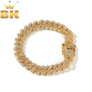 THE BLING KING 12mm Bling S-Link Miami Cuban Bracelets Gold Color Full Iced Rhinestones Hiphop Mens Bracelet Fashion Jewelry