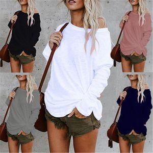 Женщины Нерегулярное Tshirt тенденции моды Pure Color средней длины Tee одежды Удобный конструктор женщина длинным рукавом Повседневная Круглый шеи Топ Tshirt