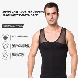 180G два слоя сетки профилировщика тела жилет лоскутных технологии Мужчины Упругие похудения Body Shaper Пластика живота талии ремень Vest