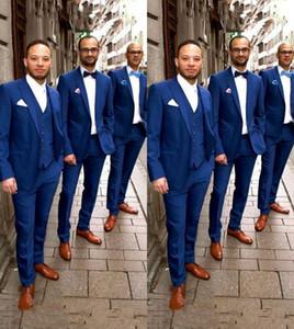 Custom Made Navy Blue Men Suits for Wedding Summer Beach Groom Tuxedo Man Groomsmen Blazer Peaked Lapel 3 Piece Slim Men Suits