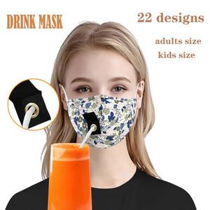 22 styles Face Maks Adultes Enfants Masque à boire avec trou pour masque de concepteur de paille Masque anti-poussière masque de concepteur de coton Masques à la bouche