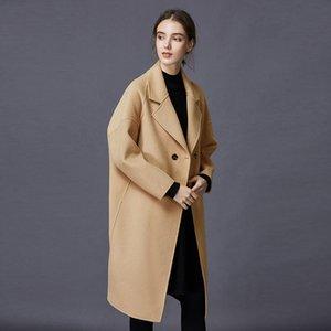2020 automne et l'hiver Manteau double face pur cachemire femme Veste longue en vrac Col Wool Pure Color Cardigan L96