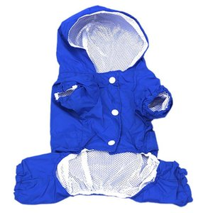 Pet Dog Raincoat Hooded Pupp Clothes Waterproof Jacket Clothing Plus Rain Coat For Soft Breathable Mesh Dog Clothes Size XS-XXL T200328