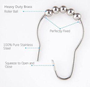12 광택 니켈 DHD209의 욕실 샤워 봉에 대한 커튼 후크 반지 철 샤워 커튼 링과 후크 샤워 커튼 - 설정