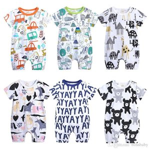 Newborn Kids Romper 6 Colors Letter Cartoon Printed Rompers Baby Infant Girl Casual Clothes Boy Jumpsuits 0-18M 07