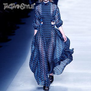 TWOTWINSTYLE Summer Print Dress For Women Stand Collar Long Sleeve High Waist Hollow Out Midi Dresses Female Fashion 2020 New CX200708