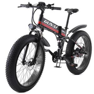 Gunai bicicleta elétrica, 1000W 48V12.8Ah Folding de 26 polegadas pneu Mountain Bike 21 velocidade Pedal E-bike Assist hidráulico do freio de disco