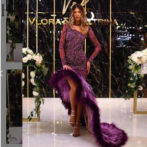 2020-2021 Nova Tendência roxo manga comprida assimétrica Formal Evening vestidos de lantejoulas contas de cristal pena Cocktail Prom Dress Vestido