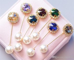 New gem pearl essence men's and women's crystal one-line pin brooch clasp scarf clasp neckline brooch