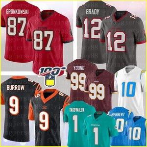 87 Rob Gronkowski Tom Brady TampaBaíaBuccaneer Jersey 9 Joe Burrow CincinnatiBengala perseguição Jovem Justin Herbert Tua Tagovailoa