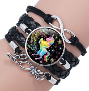 DHL Glass Cabochon Woven Bracelet Infinity Love Charm multilayer braid Cute cartoon unicorn love Leather Bracelet handmade for women nd