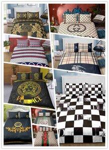 Hot vente set de mode literie avec housse de couette lettres ensemble avec taies d'oreiller complète reine roi 2 / 3pcs
