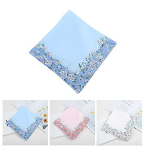 Automne Coton solide Floral Mouchoir pour les femmes Belle bonbons couleur imprimée carrés de fleurs Filles essuie-mains doux Sweatband Wristband