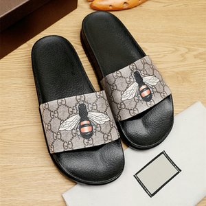 mens designers shoes bee black rubber color web slide sandal luxury bees sandals Slippers Beach causal fashion GUCGI slipper