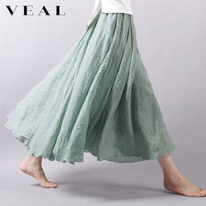 Summer New Cotton and Linen Artistic Retro Skirt Female Summer Linen a Word High Waist Irregular Large Swing Long Skirt
