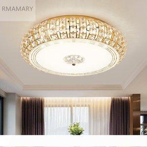 RMAMARY 간단한 현대 크리스탈 천장 램프 3color LED 라운드 거실 LED 조명 크리스탈 램프 실버 골드 크리스탈 천장 조명