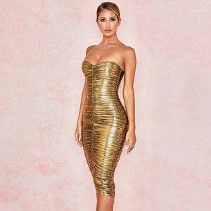 O Slash pescoço roupas douradas das mulheres vestidos de verão Strapless plissadas Mulheres Designer Vestido Casual Moda Noble Ladies