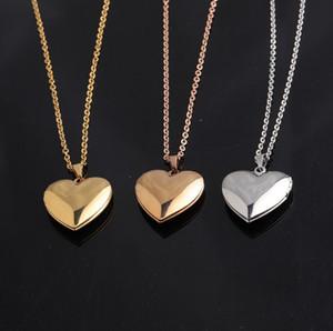 2pcs lot Mirror Polish Stainless Steel Fashion Necklace Love Heart Photo Frame DIY Memory Locket Pendant Necklaces 45cm