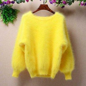 Elegante Moda Fluffy mulheres curtos de inverno 100% longo mink cashmere angorá batwing pele morno lanterna mangas compridas sweater pullover