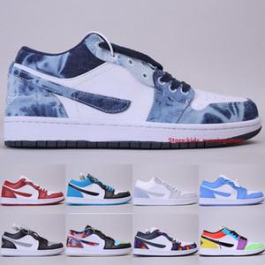 Yüksek Kaliteli Jumpman 1 Düşük Basketbol ayakkabı erkekler Kadınlar Sneakers Denim Nothing But Net Galaxy Çok Renkli Spor Ayakkabıları Boyut 5,5-11 Yıkanmış