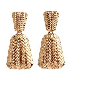 Joyería de la boda al por mayor geométrica del metal del oro cuelga los pendientes de gota de punto para mujeres de alta calidad de la manera Tendencia Pendientes Accesorios
